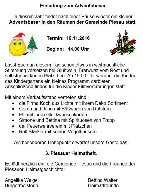 Einladung Adventbasar 2016